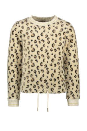 fluffy sweater met panterprint beige/bruin