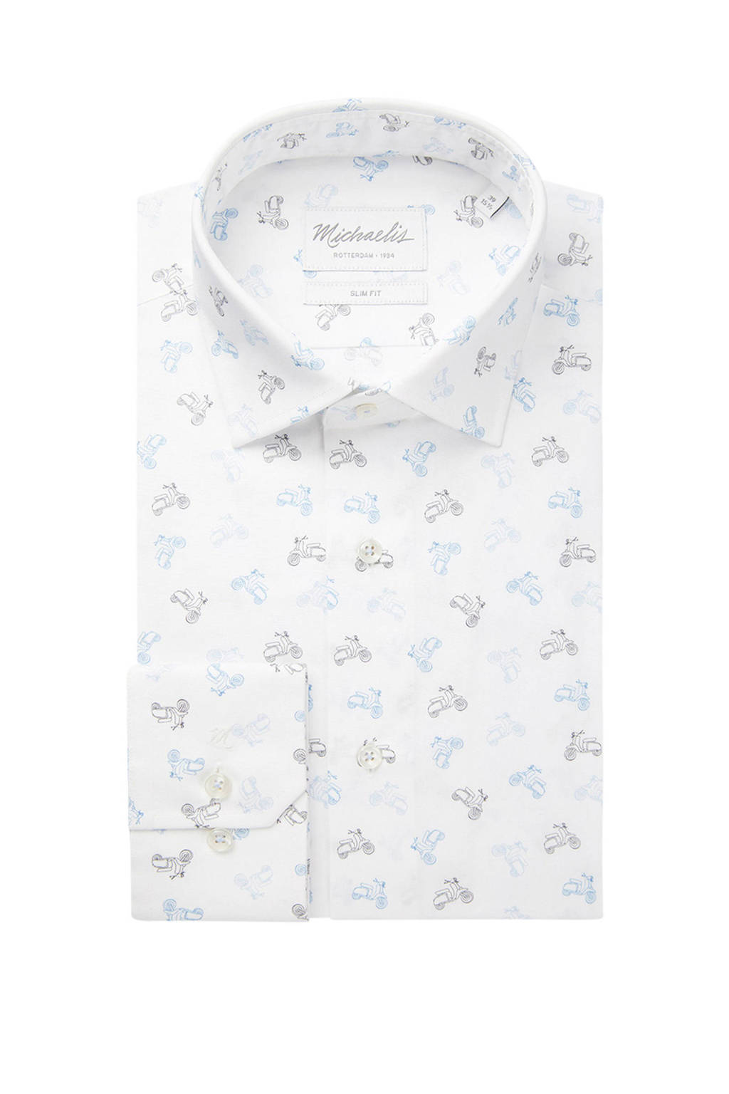 Michaelis slim fit overhemd met all over print wit/lichtblauw, Wit/lichtblauw