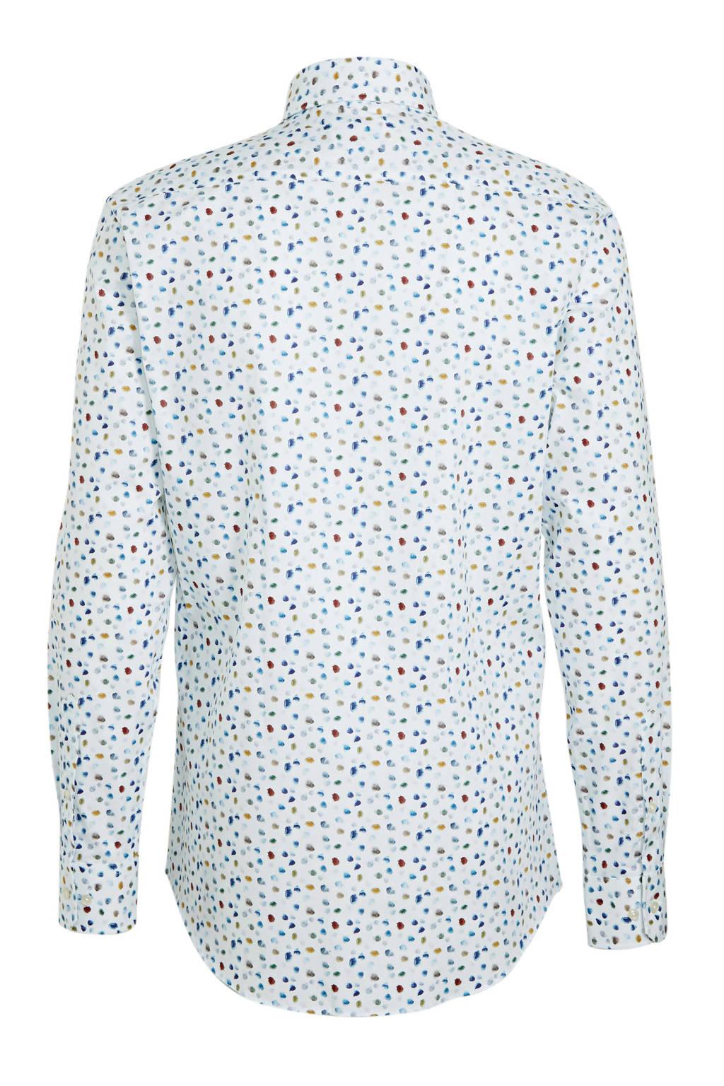 Michaelis slim fit overhemd met mouwlengte 7 met all over print wit/blauw, Wit/blauw