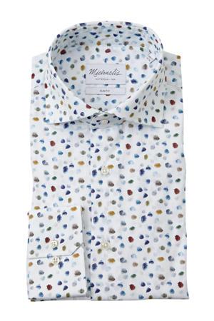 slim fit overhemd met mouwlengte 7 met all over print wit/blauw