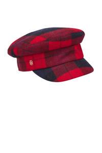 Tommy Hilfiger geruite pet rood/zwart, Rood/zwart