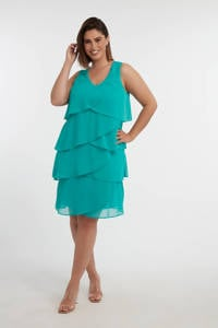 MS Mode jurk met volant turquoise, Turquoise