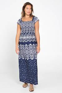 Cassis jurk met all over print marine/wit, Marine/wit
