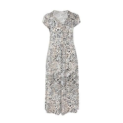 Paprika maxi jurk met all over print en plooien wit zwart beige