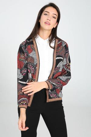 jasje met all over print en glitters zwart/rood/wit