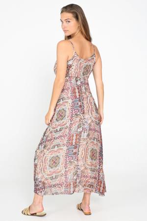 jurk met paisleyprint roze/ bruin