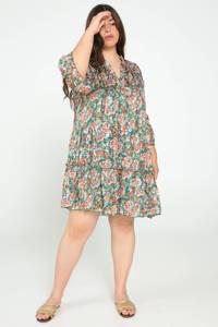Paprika jurk met all over print en volant turquoise/multi, Turquoise/multi
