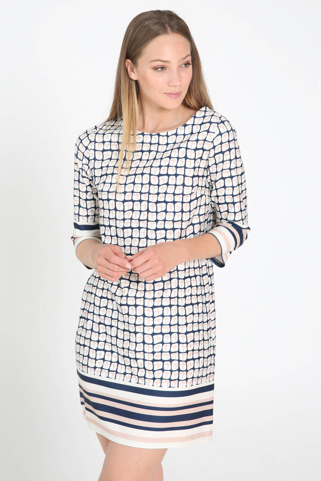 Cassis jurk met all over print marine/wit/lichtroze, Marine/wit/lichtroze
