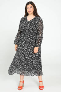 Paprika maxi jurk met all over print en ruches zwart/wit, Zwart/wit