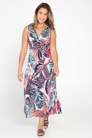 jurk met all over print en ceintuur marine/wit/rood