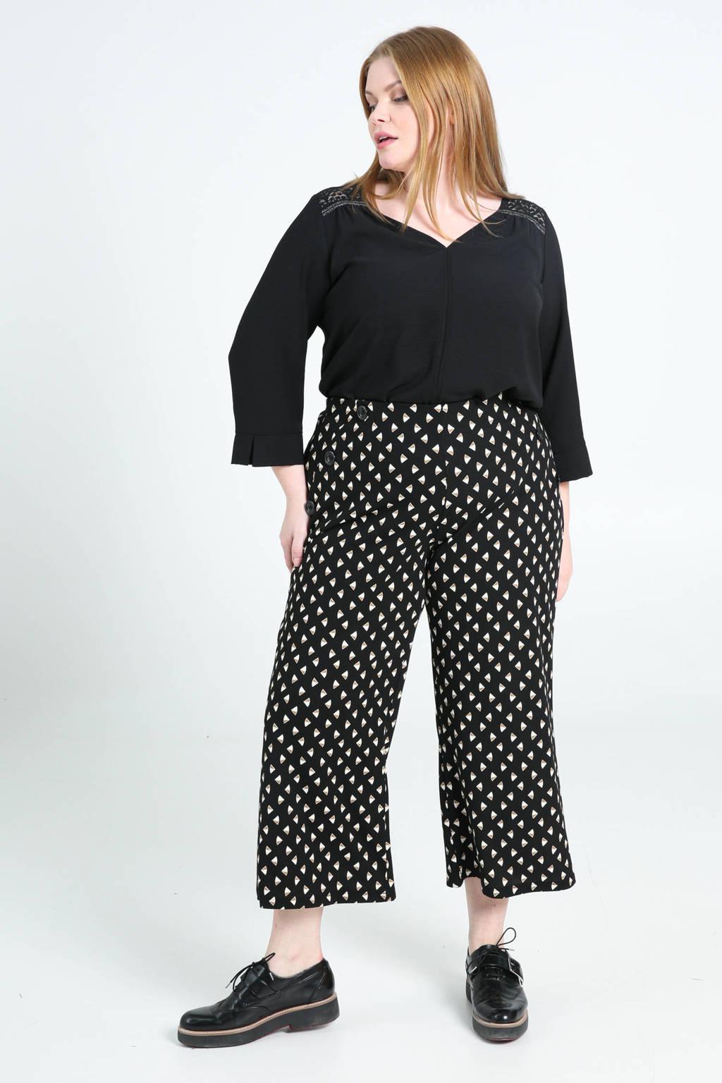 Paprika cropped loose fit broek met all over print zwart/bruin/ecru, Zwart/bruin/ecru