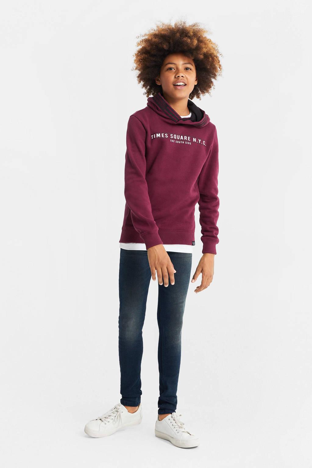 WE Fashion hoodie met tekst donkerrood, Donkerrood