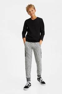 WE Fashion gemêleerde slim fit joggingbroek grijs melange, Grijs melange
