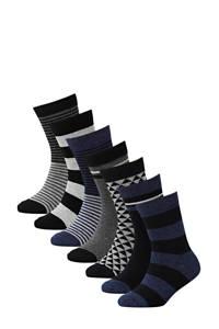 WE Fashion sokken - set van 7 zwart, Zwart