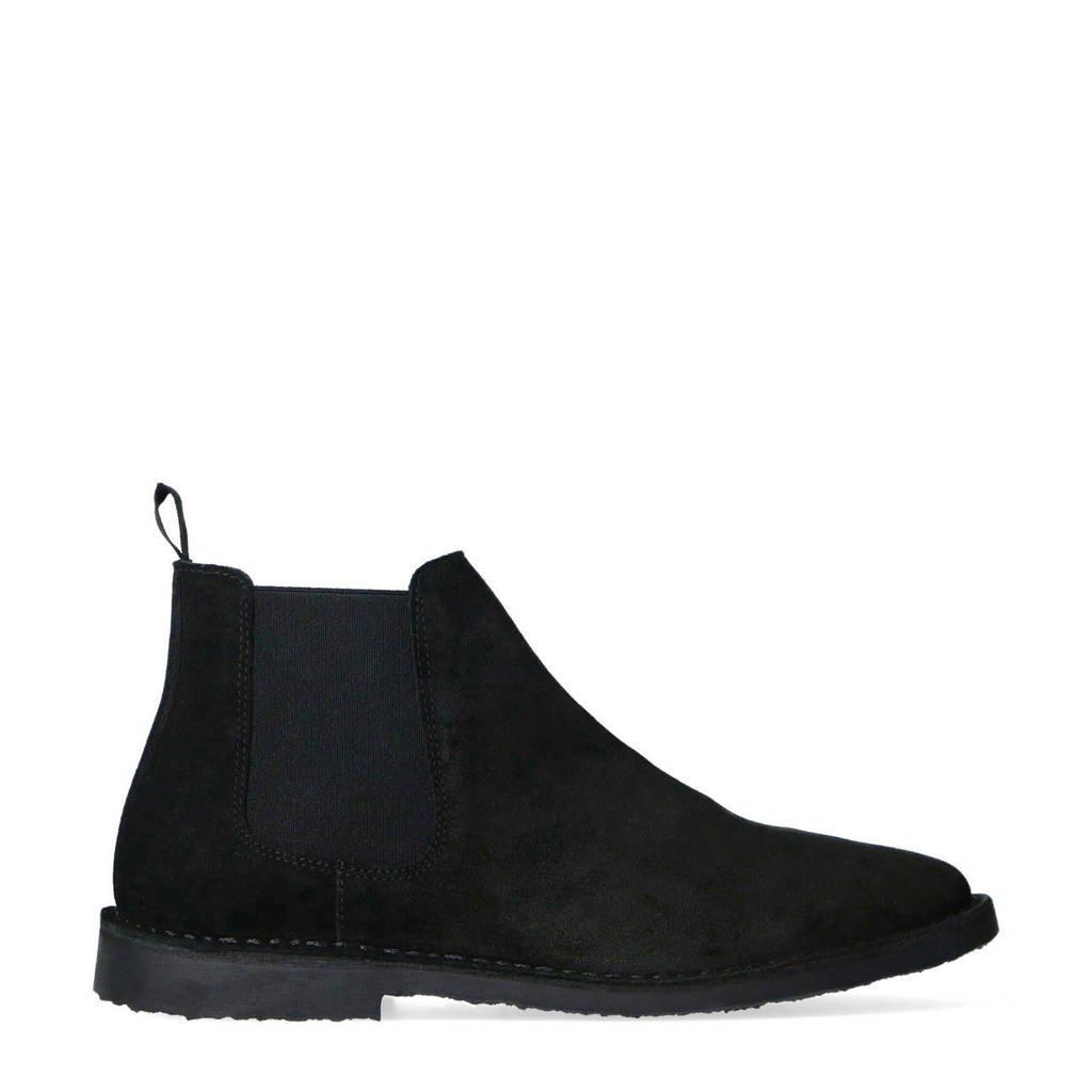 Sacha   suède chelsea boots zwart, Zwart