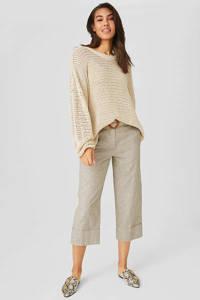 C&A Yessica cropped high waist straight fit broek met linnen beige, Beige