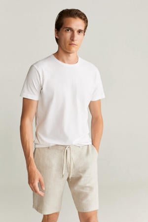 linnen regular fit bermuda beige