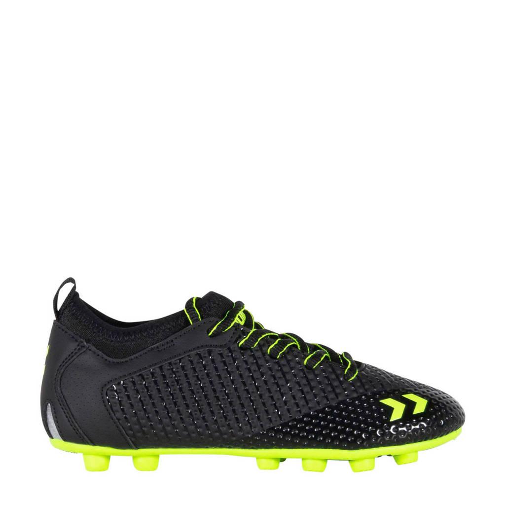 hummel Zoom JR FG  voetbalschoenen zwart/limegroen, Zwart/limegroen