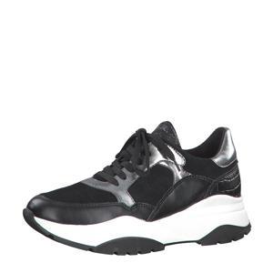 leren sneakers zwart/metallic