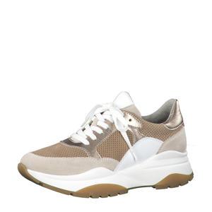 leren sneakers goud/beige
