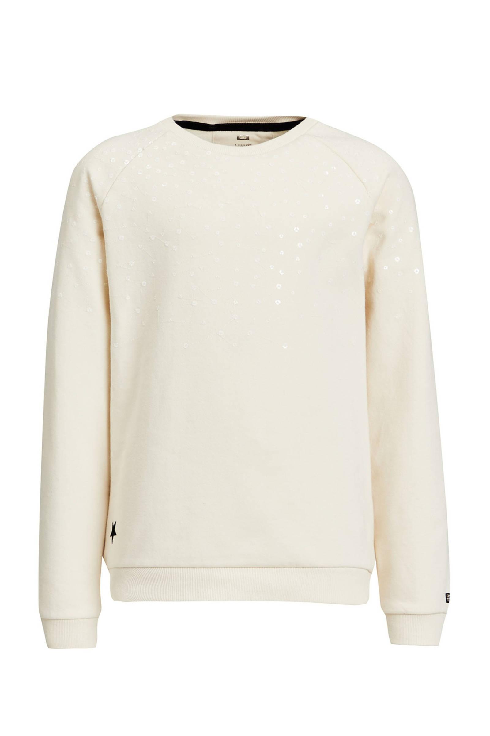Sweater met pailletten applicatie Test | wit | Essentiel