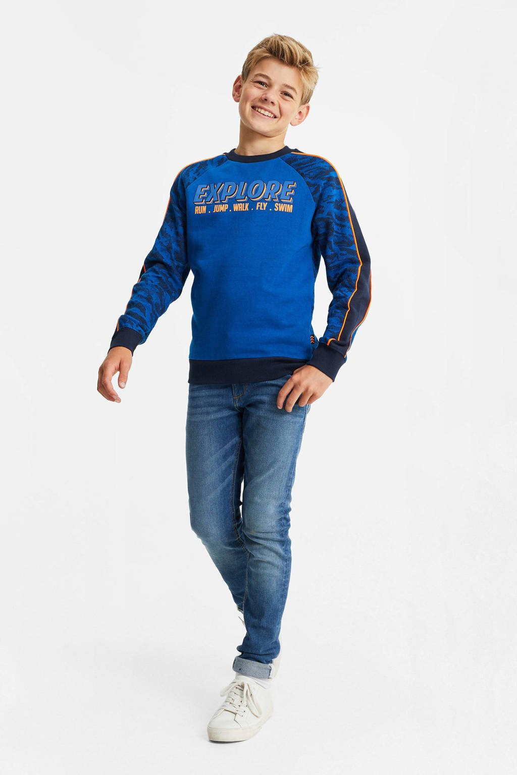 WE Fashion sweater met contrastbies donkerblauw/zwart/oranje, Donkerblauw/zwart/oranje