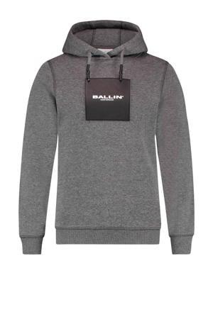 hoodie met logo donkergrijs melange