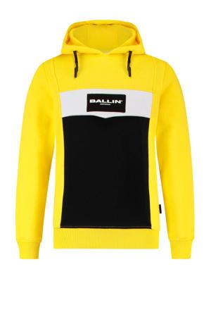 hoodie met logo geel/zwart/wit