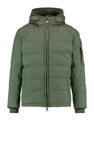 gewatteerde winterjas groen