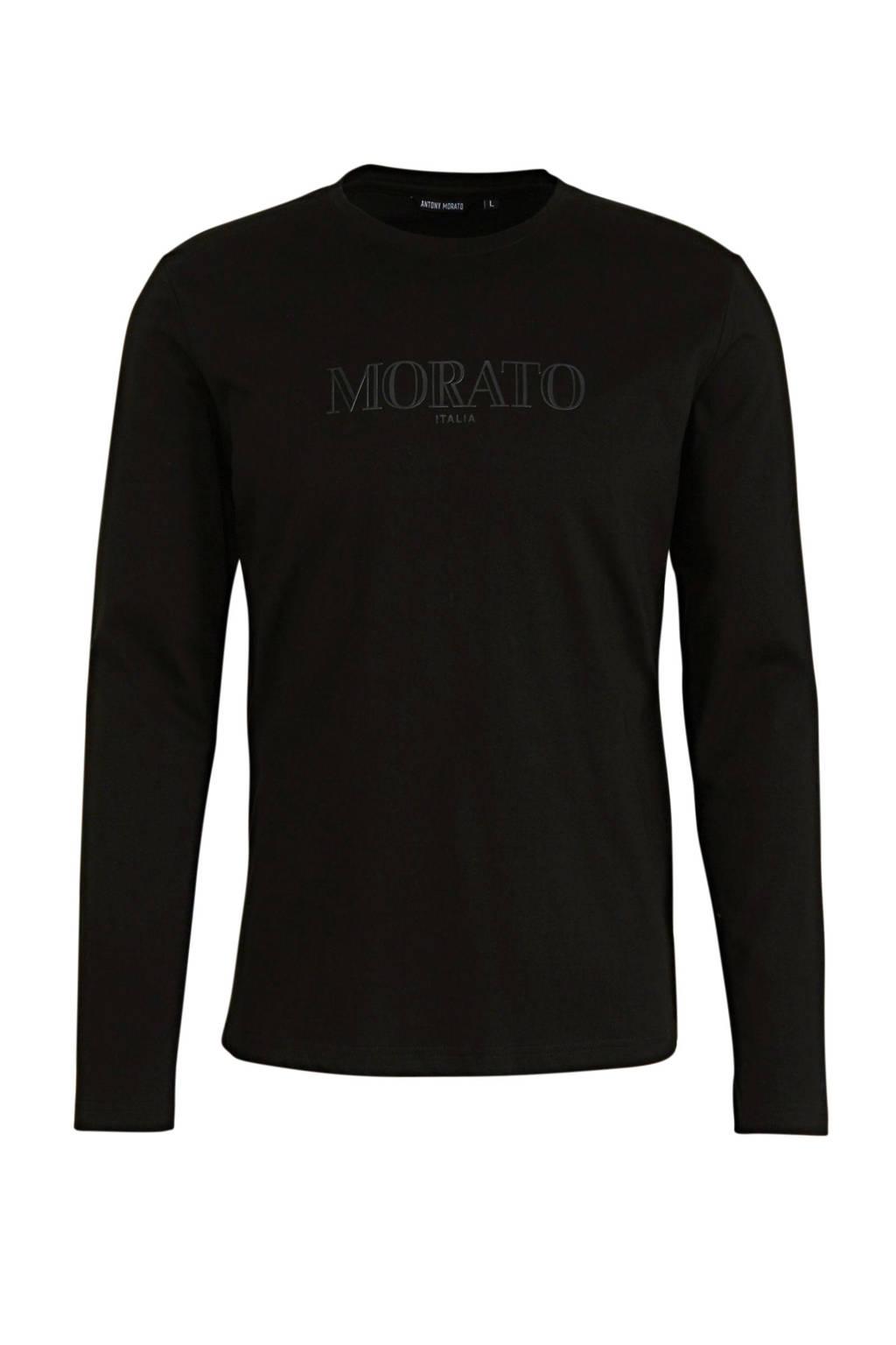 Antony Morato longsleeve met logo zwart, Zwart