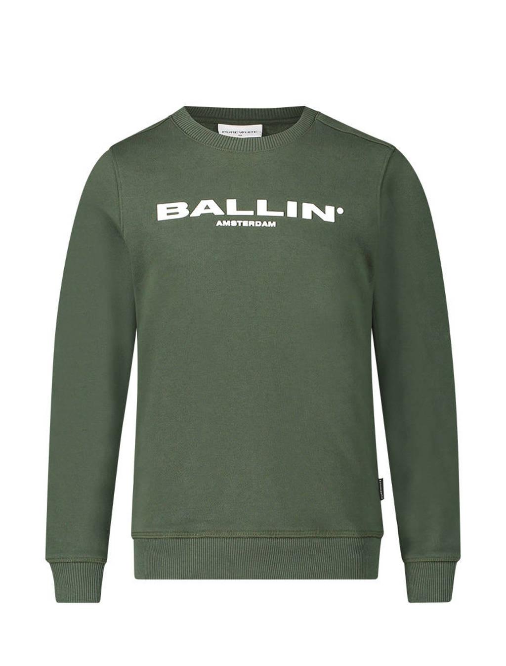 Ballin sweater met logo legergroen, Legergroen