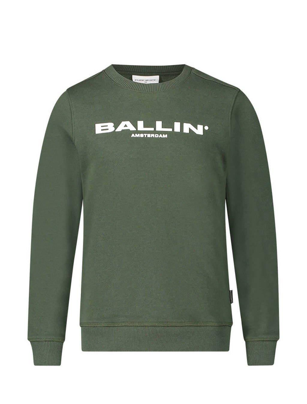 Ballin unisex sweater met logo legergroen, Legergroen