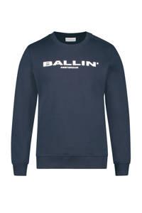 Ballin sweater met logo donkerblauw, Donkerblauw