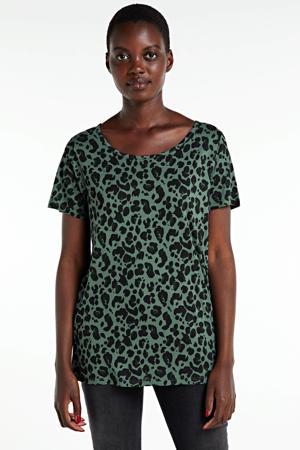T-shirt met panterprint groen