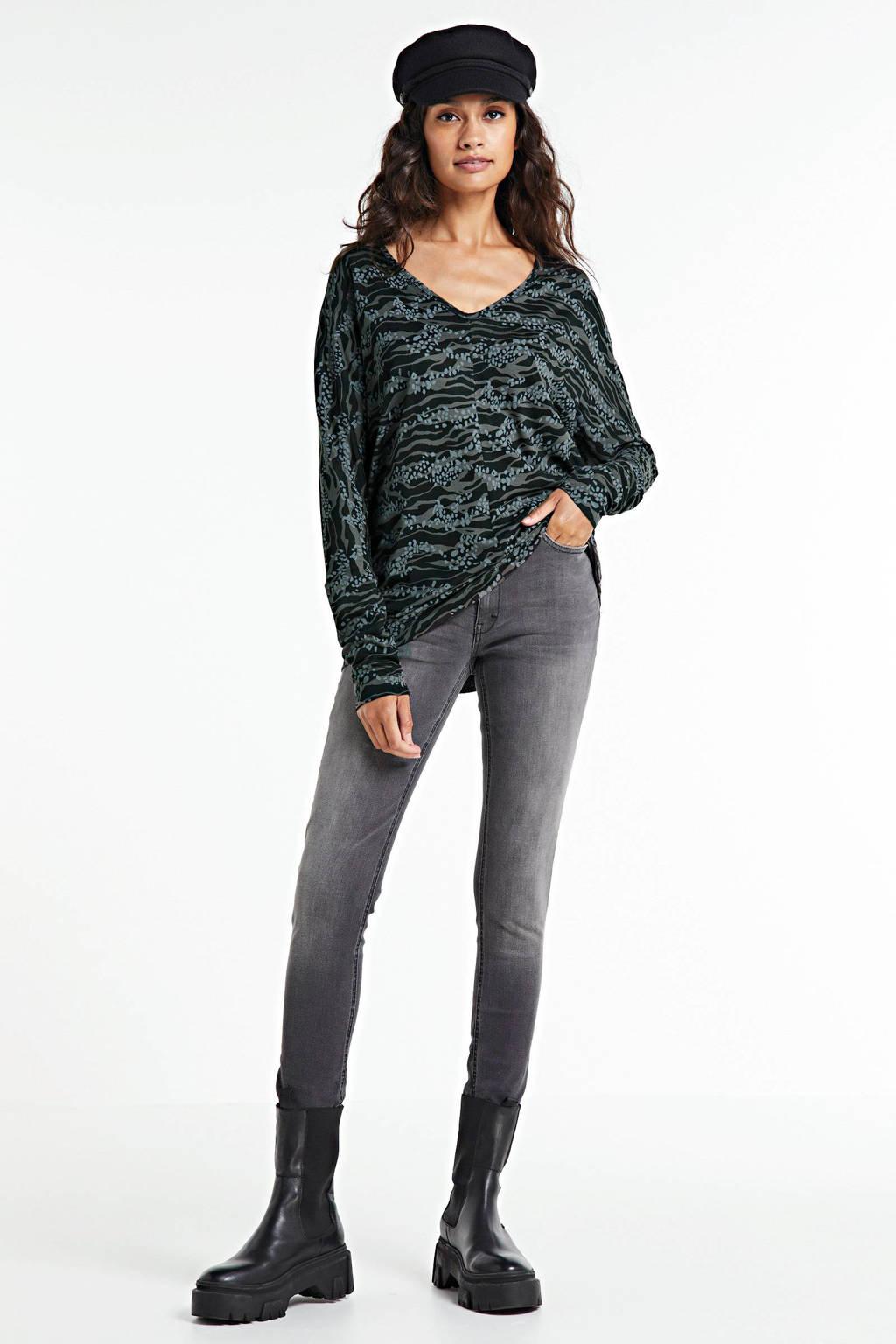 anytime tuniek met all-over print zwart, Zwart/grijs