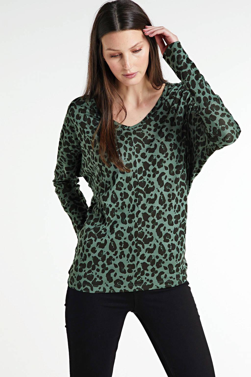 anytime tuniek met panterprint groen, Groen/zwart