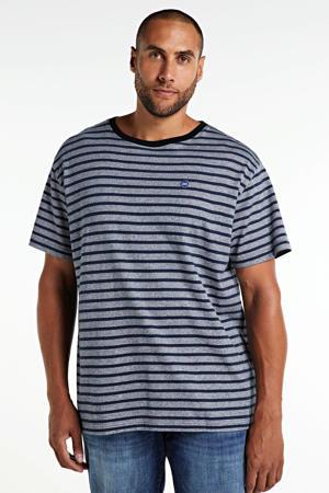 +size gestreept T-shirt van biologisch katoen donkerblauw