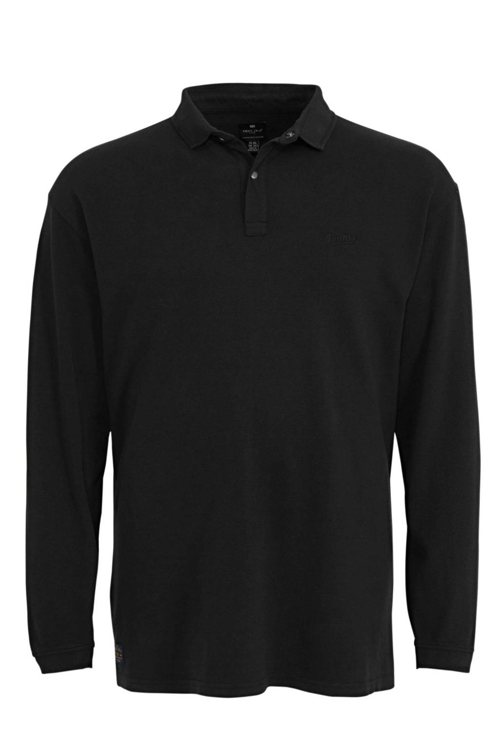 Replika +size regular fit polo zwart, Zwart