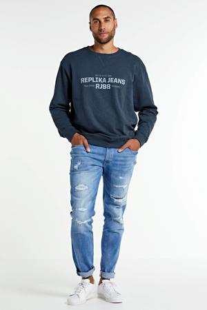 +size sweater met logo marine