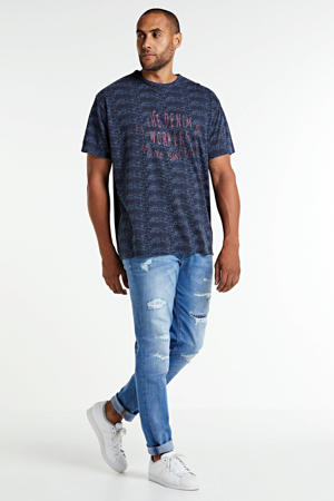 +size T-shirt met all over print marine