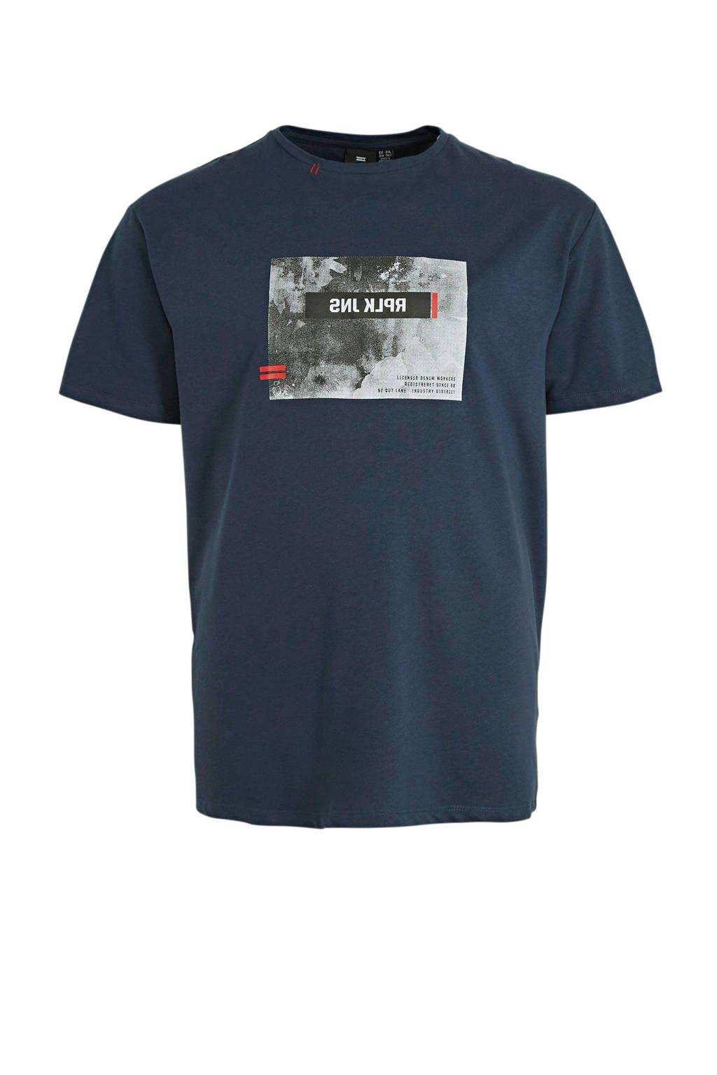 Replika +size T-shirt met printopdruk blauw, Blauw
