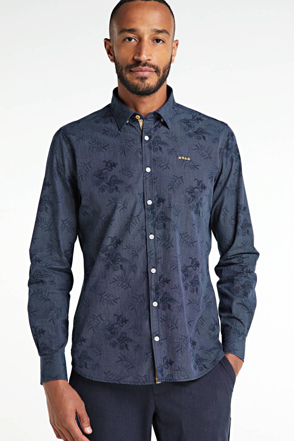 New Zealand Auckland slim fit overhemd met all over print donkerblauw, Donkerblauw