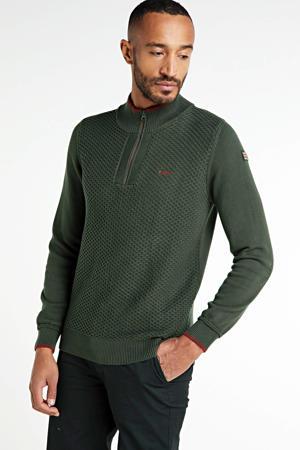 trui met contrastbies en textuur grijs