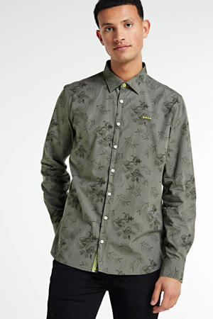 slim fit overhemd met all over print olijfgroen