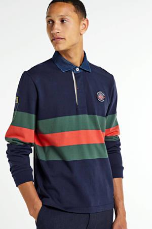 regular fit polo donkerblauw/oranje /groen