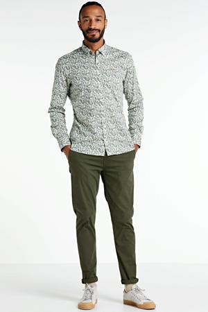 slim fit overhemd met all over print lichtgroen/wit