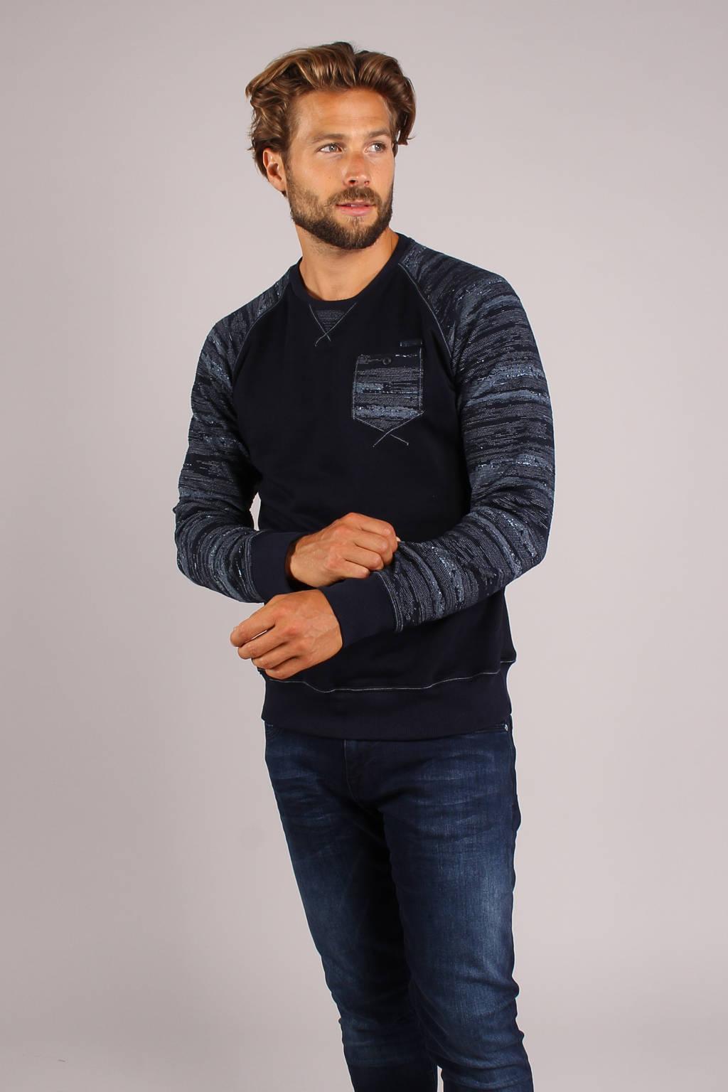GABBIANO sweater met camouflageprint donkerblauw, Donkerblauw