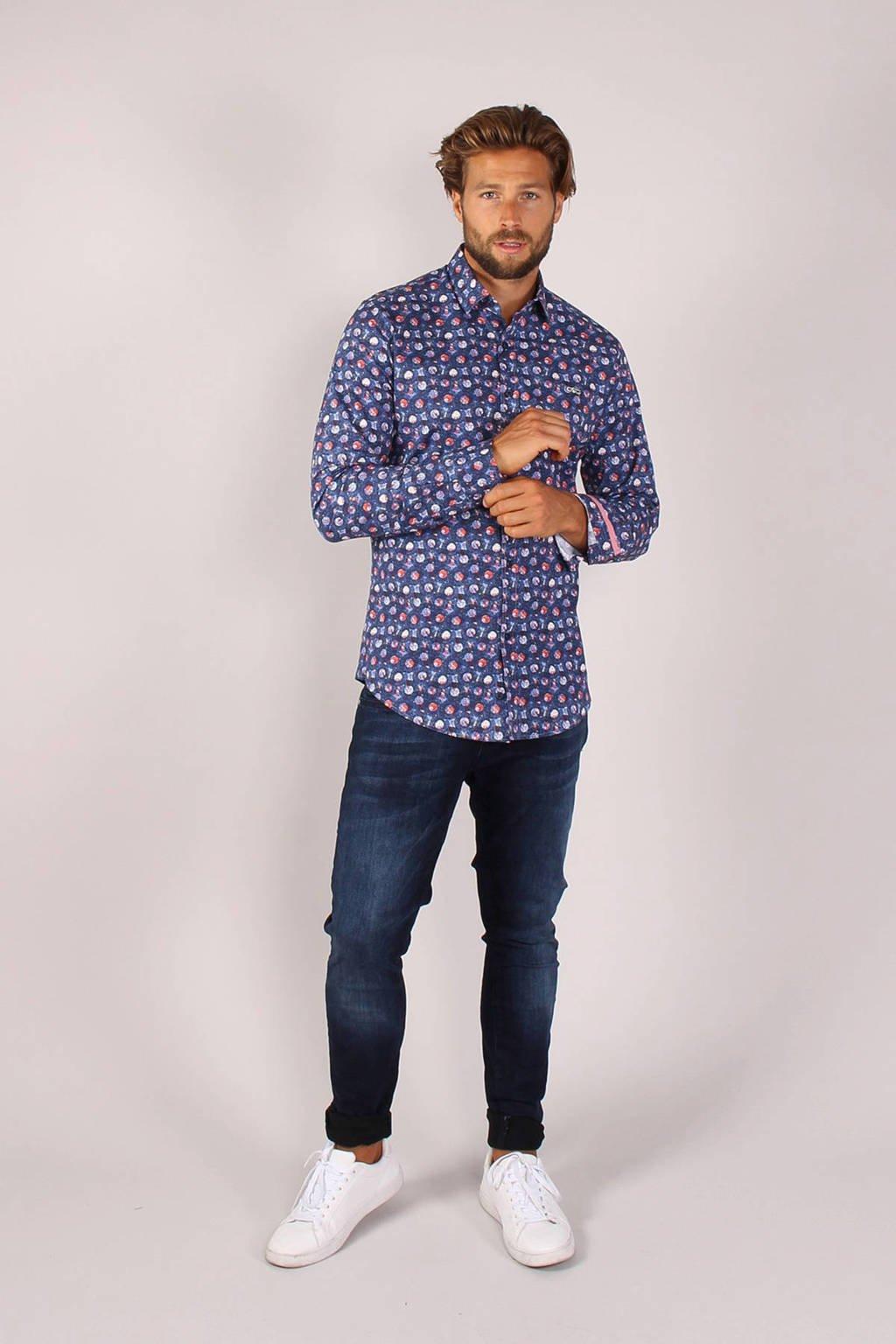 GABBIANO slim fit overhemd met all over print blauw, Blauw
