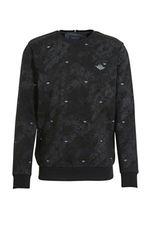 sweater met all over print zwart