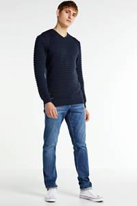 GABBIANO trui met textuur donkerblauw, Donkerblauw